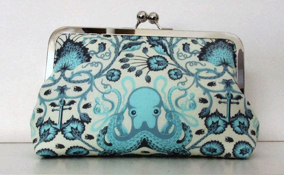 زفاف - Octopus Clutch, Destination or Beach Wedding, Handmade for Bridesmaids, wedding clutch