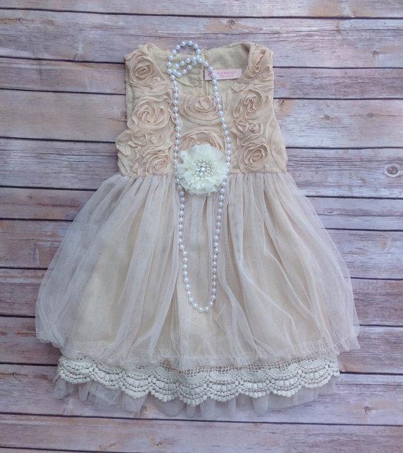 Beige Toddler Girls Dress, Vintage Toddler Girls Dress