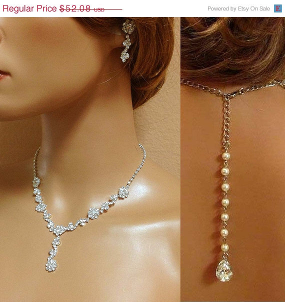 Bridal Necklace Earrings Jewelry Set Back Drop Crystal Pearl Bridesmaid