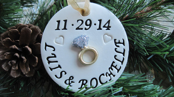 Свадьба - Personalized Glittering Diamond Engagement Ring Ornament with Gold Engagement Ring and Imprinted Hearts - Engagement Gift - Custom Made