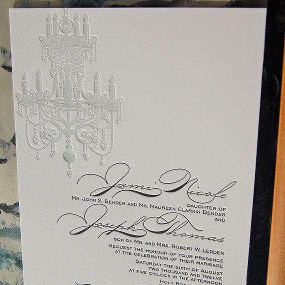زفاف - Letterpress Wedding Invitation - Chandelier