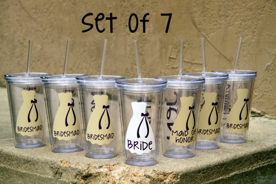 Set Of 7 Personalized Bride Bridesmaid Junior Flower And Maid Honor Acrylic Tumblers Gifts