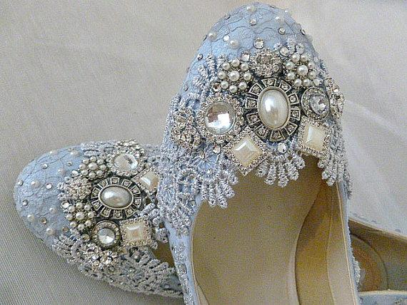 Awesome Blue And Silver Twinkle Toes Wedding Shoes.. Low Heels...Extreme Comfort