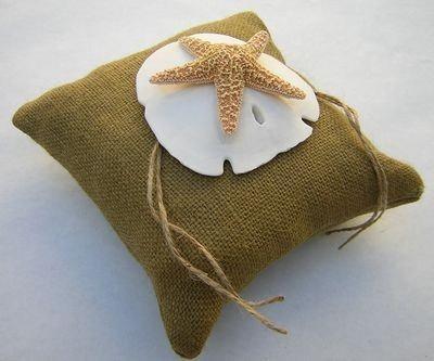 Hochzeit - Starfish Ring Pillow Beach Wedding Ring Pillow Beach theme wedding  Burlap Ring Bearer Pillow