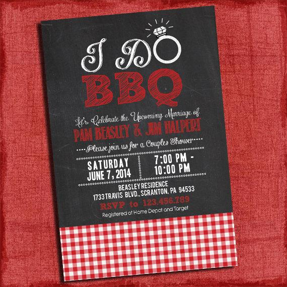 "Свадьба - Printable ""I Do"" BBQ Barbecue Couples/Coed Wedding Shower Invitation with Gingham"