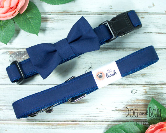 Свадьба - Dog Bow Tie In Navy Blue Dog Collar with Optional Leash