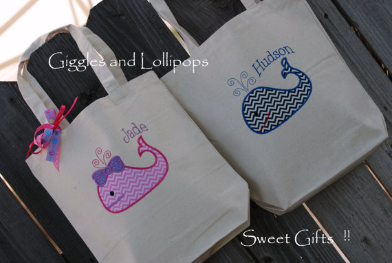 Hochzeit - Girls or  boys personalized canvas tote bag with whale flower girl ring bearer gift chevron fabric