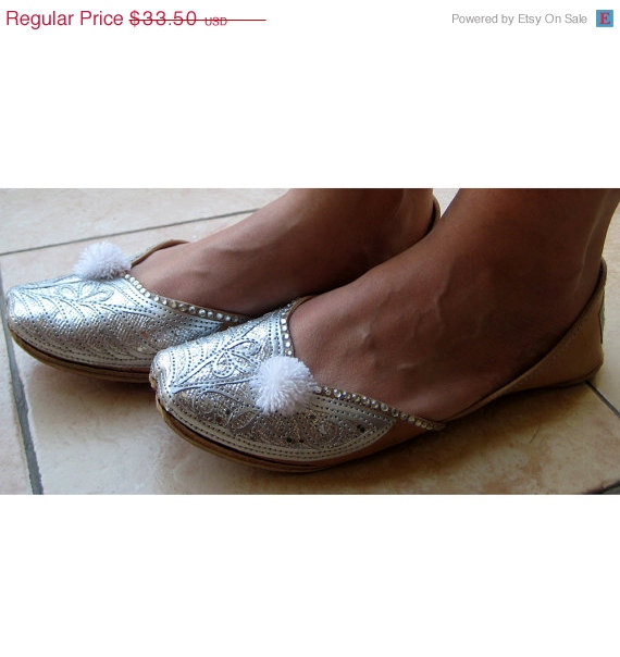 Valentine Day 20 Silver Bridal Ballet Flats Wedding Shoes Handmade Indian Designer Women Or Slippers Sequins Maharaja St