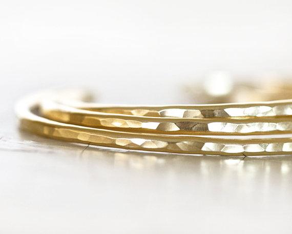 Hochzeit - Gold Cuffs / Glitzy Gold Bracelet / Bridal Jewelry / Bridesmaid Gift / Gift for Her / Hammered Gold Skinny Cuffs / Bangle Cuffs