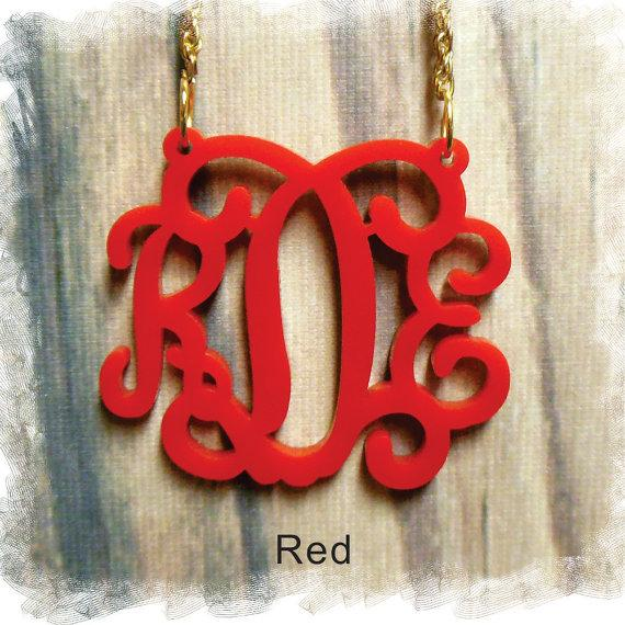 Mariage - Acrylic Monogram Necklace - Vine Monogram 3 Initial Name , Laser cut Acrylic monogram Jewelry - wedding gift