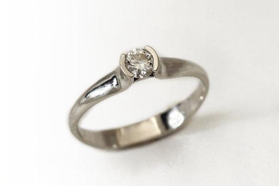 Center Stone Diamond Engagement Ring 14k White Gold Engagement