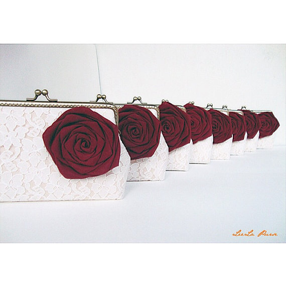 Mariage - FREE SHIPPING // Rustic Fall, Marsala Bridesmaid/  8* Wedding Clutches with Silk Roses and Custom personalized Message Labels Tag