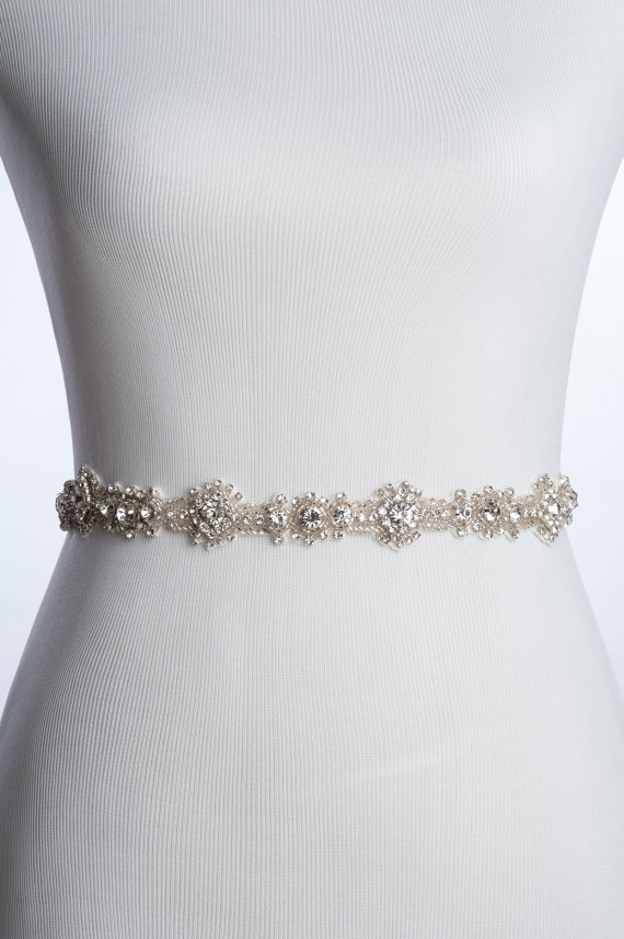 Charme rhinestone sash wedding beaded belt bridal sash for Sparkly belt for wedding dress
