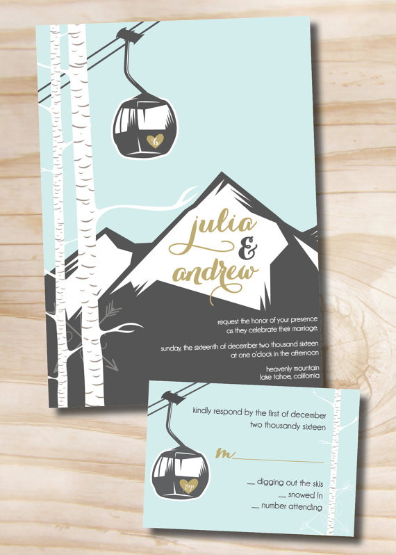 gondola mountain wedding invitation and response card rsvp 100