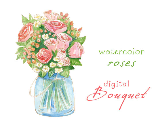 Digital Clipart Watercolor Flowers Rose Bouquet Wedding