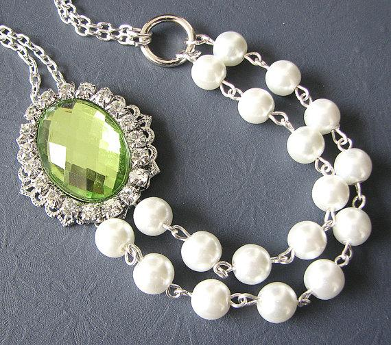 زفاف - Bridal Jewelry Lime Green Necklace Wedding Jewelry Rhinestone Pearl Necklace Wedding Party Gift Set