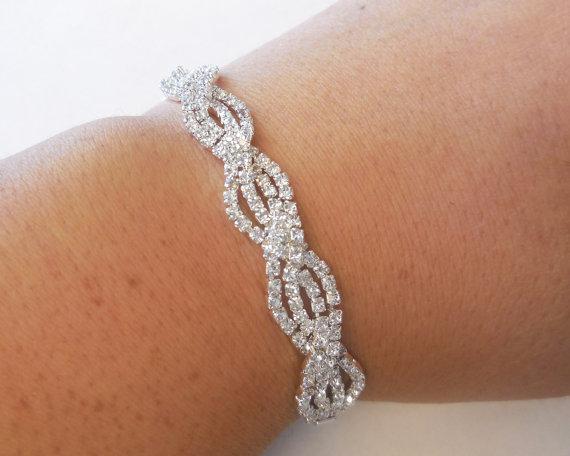 Rhinestone Bracelet Silver Tone Metal Bridal Special Occasion