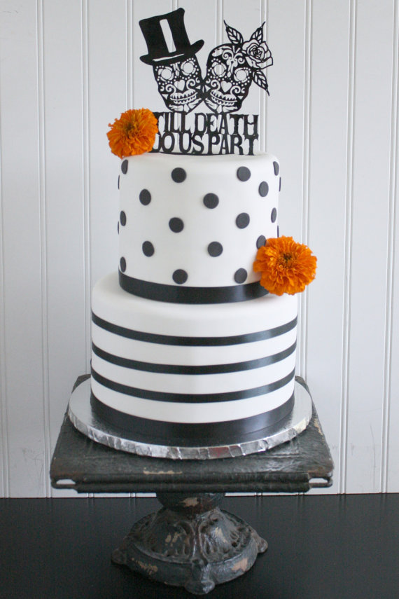 day of the dead wedding cake topper skeleton sugar