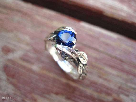 Wedding - Leaf Engagement Ring, Gold Sapphire Leaf Ring, White Gold Leaf Ring With Lab Blue Sapphire, Leaves Ring, Forest Ring, Natural Floral Ring