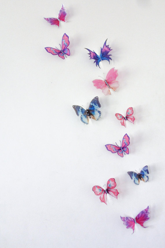10 X 3D Butterfly Wall Decals, Wall Art, Butterfly Wall Decor, Wedding Cake  Toppers, Nursery, Birthdays, Christening, Scrapbooking