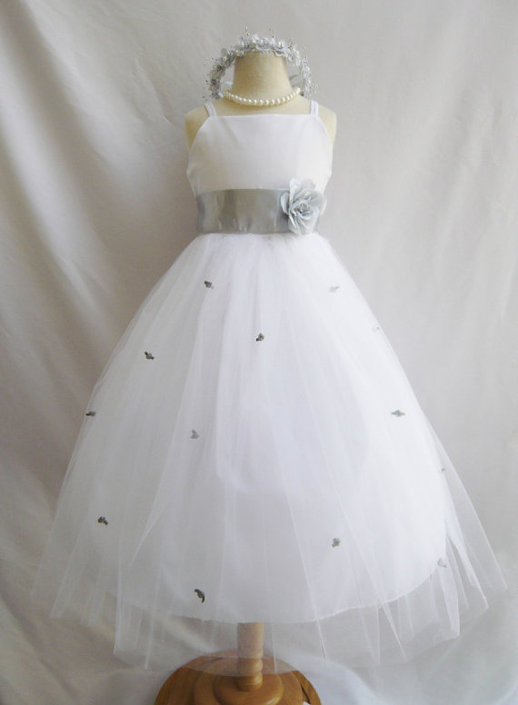 Flower Dresses White With Silver Fd0rb3 Wedding Easter Junior Bridesmaid For Baby Infant Children Toddler Kids S