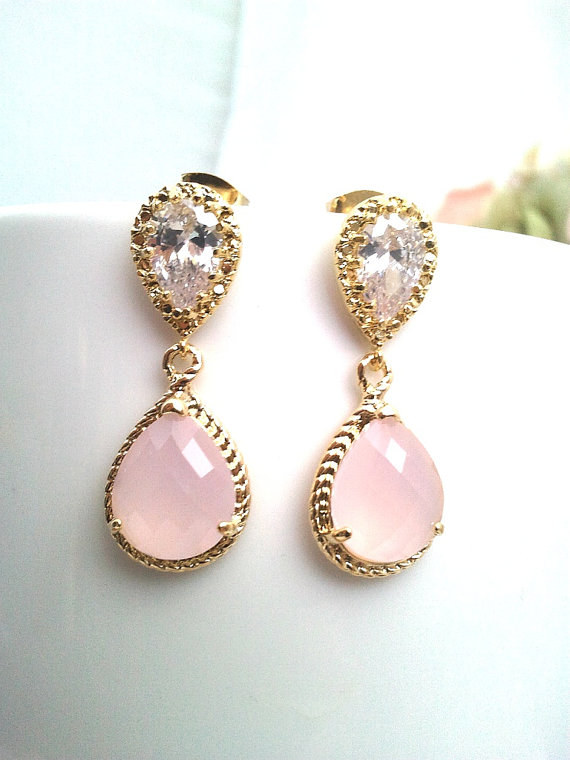 Blush Pink Earrings Opal Gold Wedding Bridesmaid Dangle Drop Bridal Post Holiday Jewelry Valentine Gifts