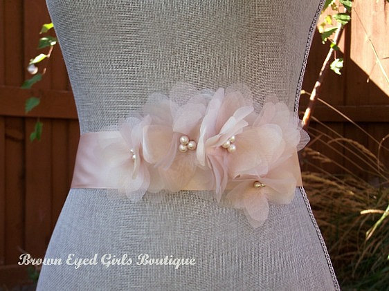 Vera Inspired Blush Wedding Sash Bridal Belt Organza Flowers