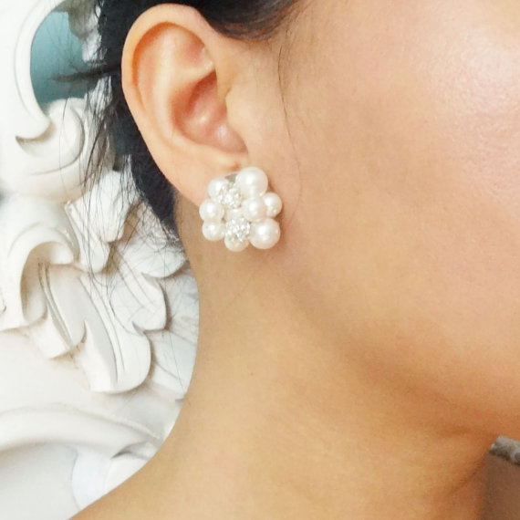 Vintage Retro Style Pearl Cer Bridal Earrings Stud Wedding Jewelry Audrey