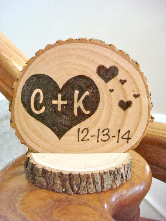 Personalized Rustic Wedding Cake Topper Wood Hearts Small Size ...