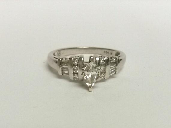 Wedding - Size 6.25 Estate Platinum 950 Engagement 1/2ct Diamond Ring Anniversary Wedding
