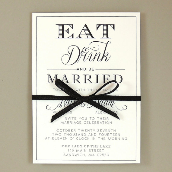 High Quality Kate Suite   Eat Drink U0026 Be Married Wedding Invitation   Elegant Invitation    Customizable Wedding Invite   Sample