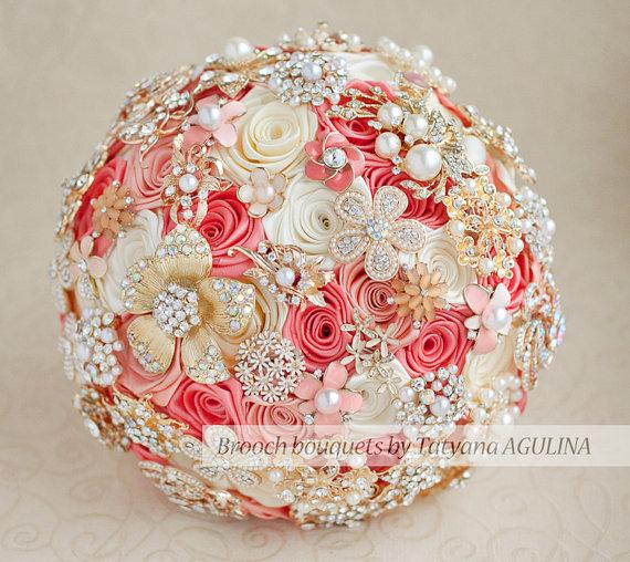 زفاف - Brooch bouquet. Coral, Ivory and Gold wedding brooch bouquet