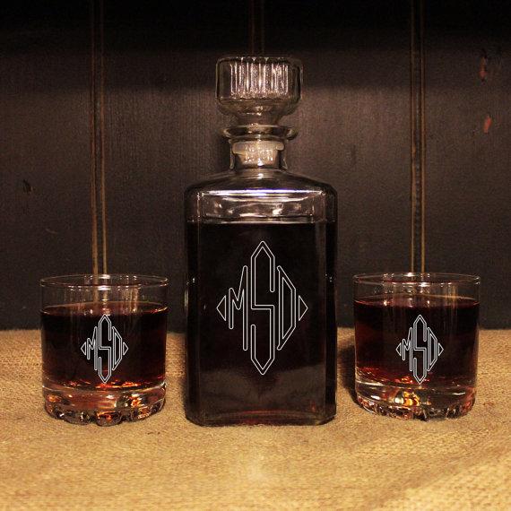 Man Cave Groomsmen Gifts : Monogrammed glass whiskey decanter set barware