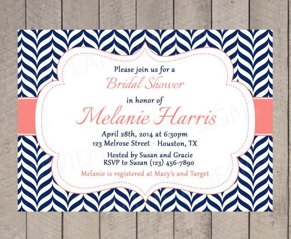 Bridal shower invitation navy and coral wedding shower invitation printable navy chevron invite 111