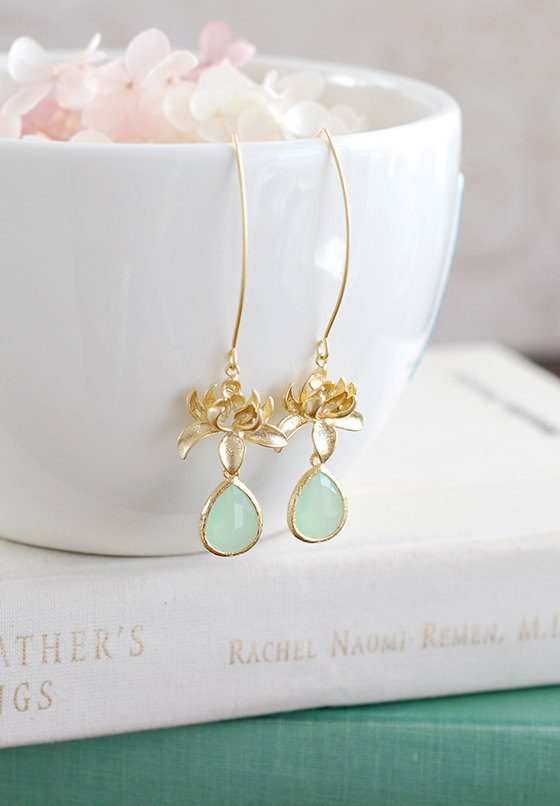 Gold Lotus Earrings 18k Gold Diamond Lotus Earrings Pee