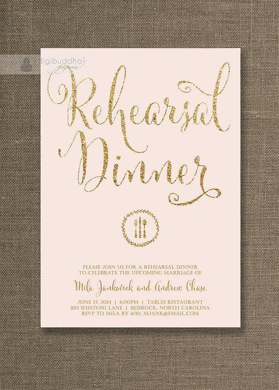 Blush Pink Gold Rehearsal Dinner Invitation Gold Glitter Pastel