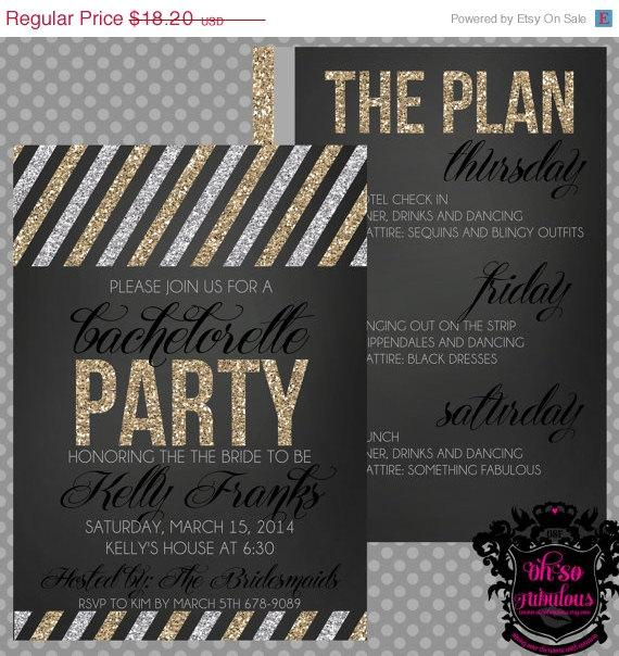 VDay Sale Glitter Gold And Silver Stripes Bridal Shower – Bridal Shower and Bachelorette Party Invitations