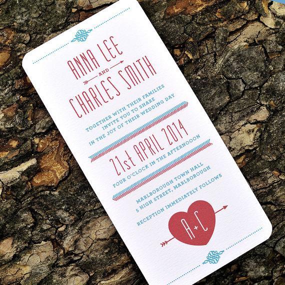 retro folksy wedding invitation lovestruck simple heart monogram