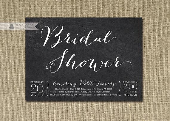 زفاف - Chalkboard Bridal Shower Invitation White & Black Chalkboard Script Classic Elegant Modern Printable Digital or Printed - Violet Style