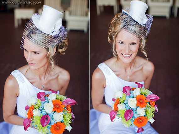 5ed0bd09111a8 Wedding Bridal Top Hat With Birdcage Veil