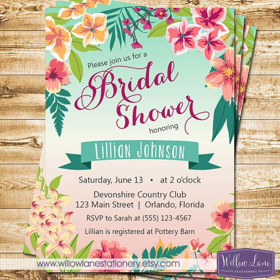 Tropical bridal shower invitation island flowers hawaiian luau tropical bridal shower invitation island flowers hawaiian luau bridal shower invite wedding shower engagement party 1379 printable stopboris Images