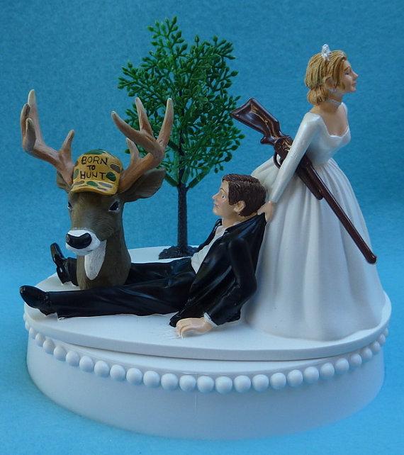 زفاف - Wedding Cake Topper Deer Hunter Hunting Rifle Themed Groom w/ Bridal Garter Outdoors Unique Reception Idea Bride Dragging Humorous Funny Gun