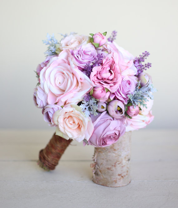 Wedding - Rustic Silk Bridal Bouquet Lavender Roses Peonies Dusty Miller Grapevines NEW 2014 Design by Morgann Hill Designs
