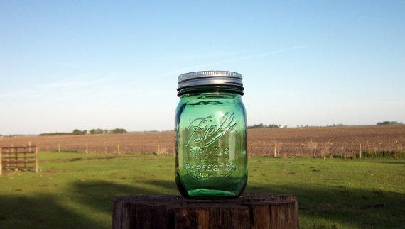 Hochzeit - Green Pint Mason Jar 1