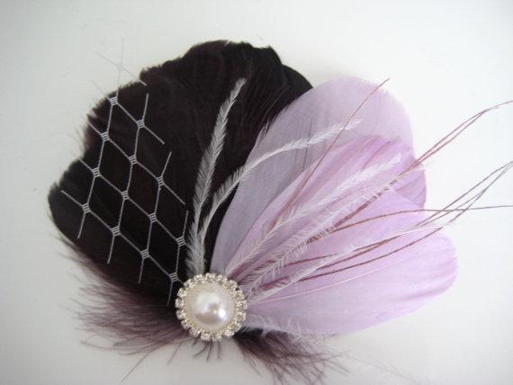 Hochzeit - Wedding Bridal Eggplant Purple Lilac Feather Rhinestone Jewel White Veiling Head Piece Hair Clip Fascinator Accessory