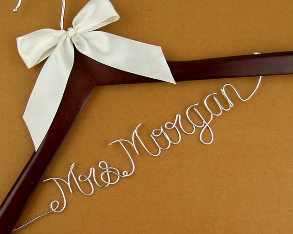 Promotion personalized wedding hanger wire name bride for Personalized wire wedding dress hanger