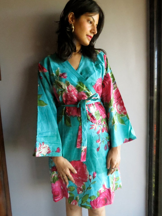Wedding - E7 Teal Fuchsia Big Floral Kimono Crossover kneelength Getting ready bridal robe, Spa robe, Bridal Shower, bridesmaids gifts
