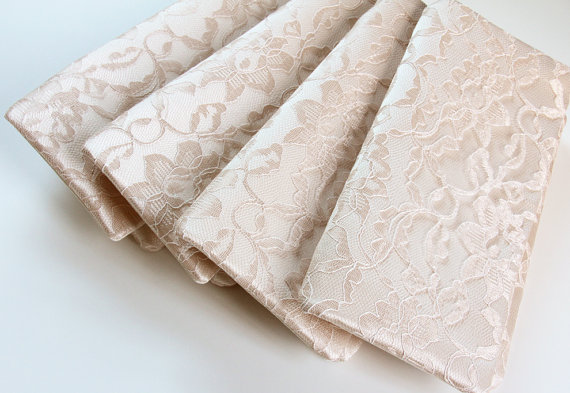 Hochzeit - 5 Bridesmaid Clutches - Champagne Clutch - Lace Wedding Clutch - Bridesmaid Gift Idea - Design Your Own Bridal Collection
