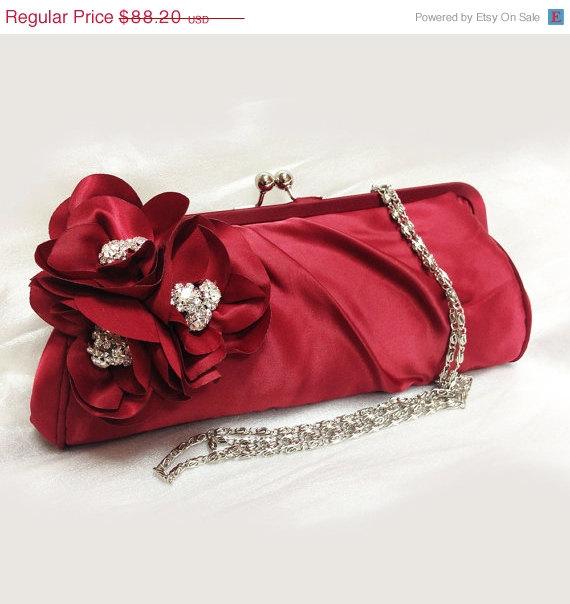 Свадьба - Wedding clutch, Bridesmaid clutch, Red clutch, evening bag, Bridesmaid bag, crystal clutch, flower bag