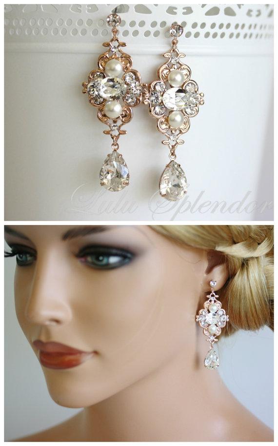 Rose Gold Bridal Earrings Wedding Jewelry Pearl Crystal Vintage